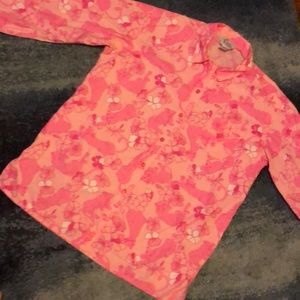 Lilly Pulitzer pink button up pj top size medium